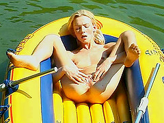 She gets naked in a raft and gets off..