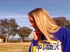 Blonde cheerleader smashed with big..