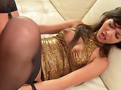 Sexy Asian babe in nylon stockings..