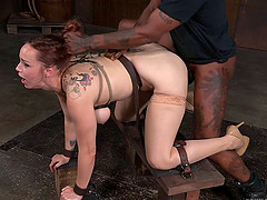 Raunchy redhead babe gets tied up and..