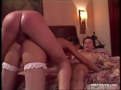 Young slut goes home with two guys for..