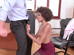 Ebony secretary gets a long dong..