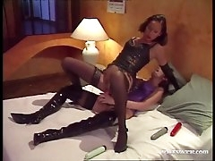 Leather and latex on lesbians fucking..