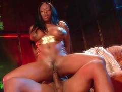 Ebony with hot ass riding big cock..
