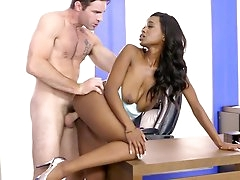Busty ebony office chick sex with her..