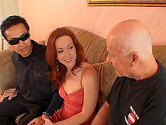 Two dicks make a hot woman moan during..