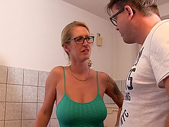 Hot chick with glasses is happy to..