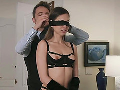 Emma Marx blindfolded before an..