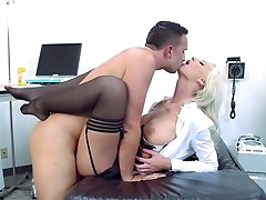 Blonde nurse spreads legs for horny..