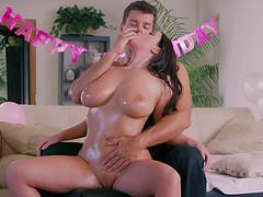 Angela White surprises he boyfriend..