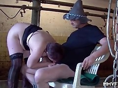 Cow farmer fucks this slut in the barn