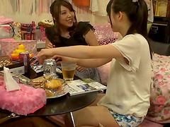 Drunk Japanese cunt-lickers get naked..