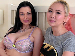 Busty Aletta has a fun time with her..