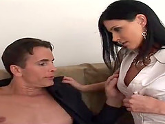 Hot brunette sex bomb has a blast..