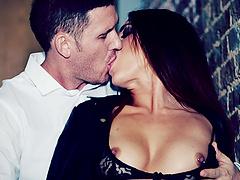 Brunette licking balls then face..