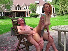 Tattooed diva riding old man dick..