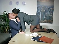 Busty secretary tries sex in the..