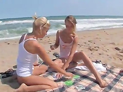 Sexy teen honeys swimming and fooling..