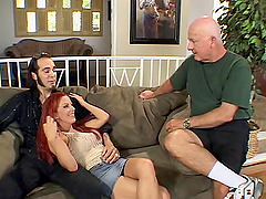 Redhead with amazing boobs fucked in a..