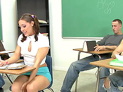 Brunette teen can't wait to get her..