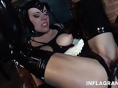 Latex maid fisted and fucked in her..