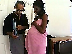 Pregnant ebony girl tickles his cock..