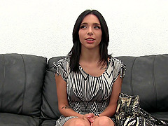 Shy babe Erika opens her legs for a..