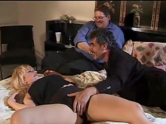 Blonde wife has her mouth and pussy..