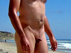 Tiny dick on public beach