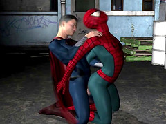 3D cartoon Spiderman getting fucked..