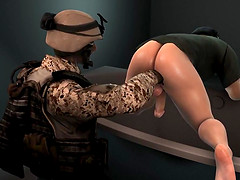 3D cartoon ebony soldier getting his..
