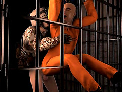 3D cartoon prisoner getting his tight..