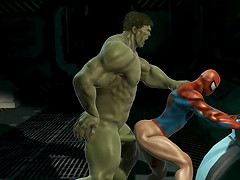 3D cartoon Spiderman getting blown and..