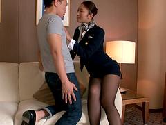 Stunning Japanese stewardess seduced..