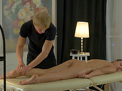 Relaxing Emma Brown with a massage and..