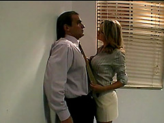 Naughty secretary attacks a handsome..