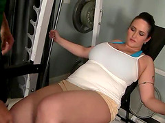The fat woman fucks with her trainer