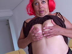 Luzia(47) showing us her gaping pussy..