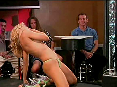Charming model swallowing cum after..