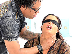 Alura Jenson is blindfolded during a..