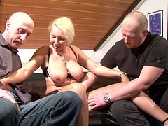 Mature lady gets lucky with two..