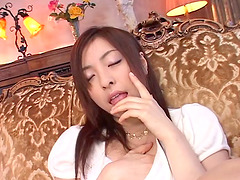 Yukimi Saya enjoys feeling jizz on her..