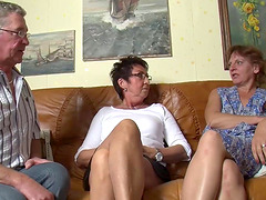 Horny housewives make a mature..