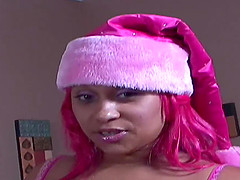 Ebony MILF Pinky can handle two studs..