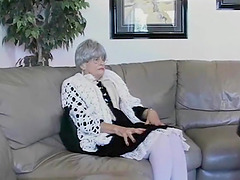 Elderly lady Beverly bounces on a fat..
