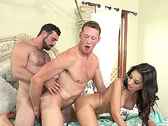 Bisexual trinity bend over having her..