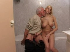 Teen sex with old man in bathroom
