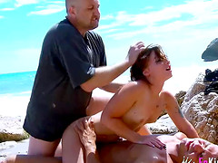 Awesome anal beach threesome with..