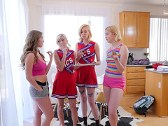 Sleepover and hot lesbian action with..