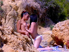 Steamy beach threesome with Terry,..